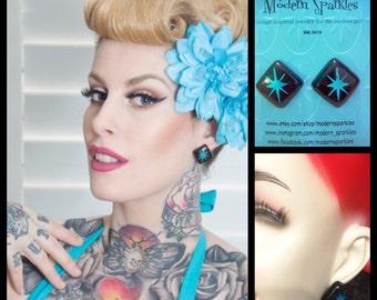 Mid Century starburst lucite sterling silver earrings - blue & black - rockabilly - 1950s - vintage inspired - vlv