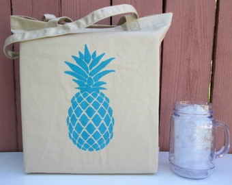 100% Organic Cotton Tote Bag, Pineapple Tote, Pineapple Bag, Screen Printed Tote Bag, Pineapple, Grocery Bag, Organic Cotton