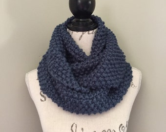 Infinity Scarf, Knit scarf, Chunky scarf, Infinity knit scarf In denim blue