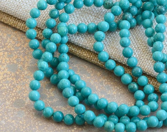 Turquoise Beads 6mm Round Gemstone Beads Turquoise Howlite Blue Beads Stone Beads Bracelet Jewelry Supply, One Strand, 60 beads, MAN15-0121T