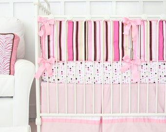 CLEARANCE {reg price 389} | 4pc Set Inculdes crib skirt, sheet, blanket, and bumpers | Ella Pink Baby Bedding