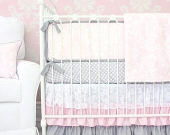Sweet Lace Damask Pink and Gray Designer Crib Bedding| 2 or 3 pc Set Pink Damask Baby Bedding