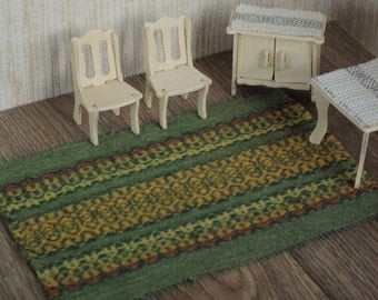 Wool doll house carpet hand woven mat for doll house green patterned miniature carpet set