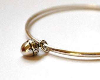 Sterling silver bangle - Acorn bangle bracelet - Acorn Jewellery - Charm bangle - Autumnal Jewellery