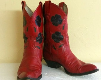 Womens Sz 7 Larry Mahan Red Cowboy Boots