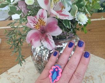 Pink and Blue Vulva Yoni Ring