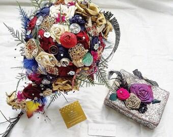 Silk brooch bouquet,alternate bouquet,large bouquet,shabby chic bouquet,fabric bouquet,