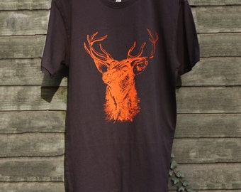 Stag Mens Organic Cotton Screen Printed T-Shirt in Vintage Charcoal