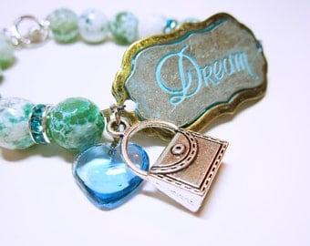 Inspirational Beaded Bracelet DREAM Word Quote Word Quote Beaded Bracelet Women's Beaded Bracelet Beaded Bracelet