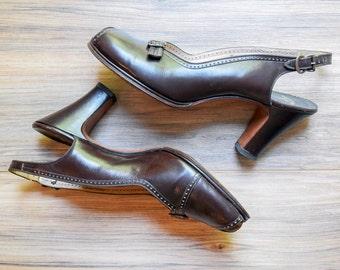 1940s / 1950s Palter De Liso Brown Leather Slingback Pumps