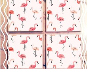 Doodle Flamingo Tile Coasters