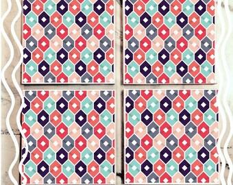 Funky Blue & Red Pattern Tile Coaster Set