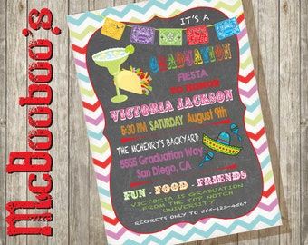 Mexican Fiesta Graduation Party Invitation with rustic chevron background, margaritas and tacos