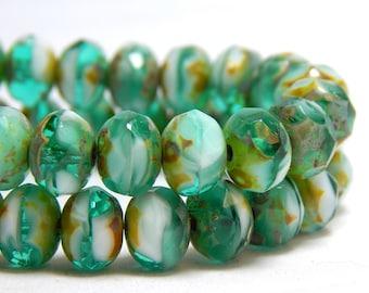 8x6mm Emerald Mix Beads, Glass Beads, Green Beads, Ocean Beads, Nature Beads, Czech Rondelles, Green Faceted Beads, Beach Beads T-069D