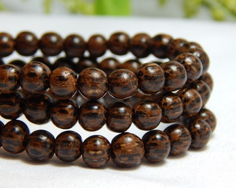 6mm Round Palm Wood Beads, Round Wood Beads, Palmwood Beads, 6mm Palm Wood, Dark Palm Wood, Wood Beads, Wooden Beads, 6mm Beads, D-J09