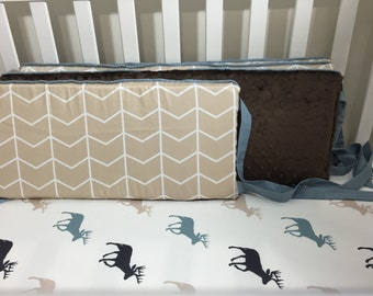 Little Oasis Custom Crib bedding. Neutral tan brown minky crib bumper, blue trim and ties.
