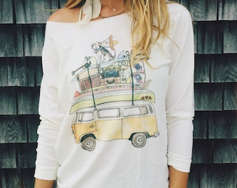 Watercolor VW bus adventure stack raw edge sweatshirt