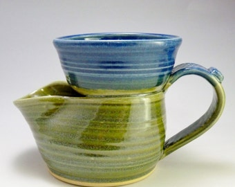 Shaving Scuttle-Old Style, Wheel-thrown Stoneware, Lime Green and Cobalt Blue