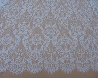 "black eyelash Lace Fabric ,off  White Chantilly Lace fabric  for wedding 59"" width 3 yards"
