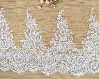 Alencon Lace,Bridal Veil Lace Trim Wedding Lace ivory by yard , Floral Embroidered Retro Lace 12.9 Inches Wide Lace trimming