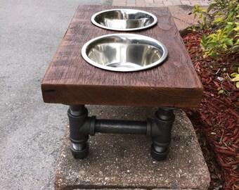 Medium Dog Reclaimed Wood & Iron 2 Bowl Pet Feeder