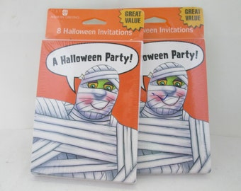 Set of 2 NOS Halloween Party Invitations party invites invitation cards pack of invitations paper invitations Halloween invites mummy cards