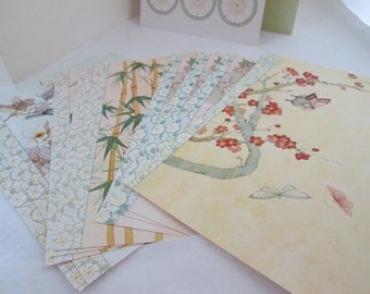 Current Asian Style Foldover Notes and Seals Set Current Stationery Set Writing Paper Set of Notecards Oriental notecard set of cards