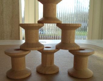 "Unfinished Wooden Spools        6 pcs.     1 - 1/4"" x  1 - 1/4"""