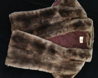 Vintage I. R. Fox Brown Fur Shawl Shrug Stole Wrap 1950's New York