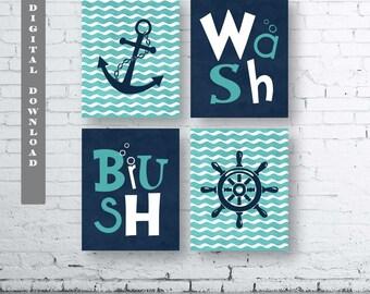 Nautical Bathroom Etsy
