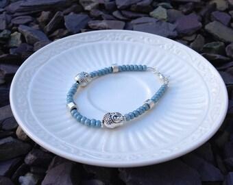Smokey Blue Buddha Bracelet