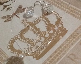Crystal quartz necklace and earrings set in sterling silver