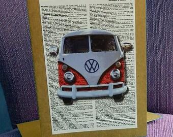 VW Bus Kraft Paper Blank Card with Envelope 5x7