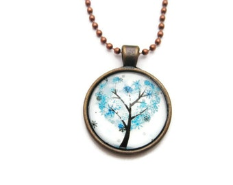 Winter Tree Necklace Blue Tree Necklace  Whimsical Tree Necklace Plant Necklace Plant Jewelry Nature Gifts Under 20 WInter Tree Jewelry