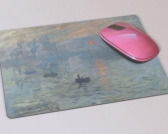 Fabric Mousepad, Mousemat, 5mm Black Rubber Base, 19 x 23 cm - Impression, Sunrise by Claude Monet Mousepad Mousemat