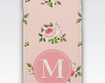 Case for iPhone 8, iPhone 6s,  iPhone 6 Plus,  iPhone 5s,  iPhone SE,  iPhone 5c,  iPhone 7,  Pink Rose Floral Monogram iPhone