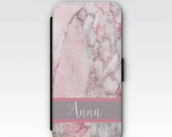 Wallet Case for iPhone 8 Plus, iPhone 8, iPhone 7 Plus, iPhone 7, iPhone 6, iPhone 6s, iPhone 5/5s - Pink & Grey Marble Custom Case