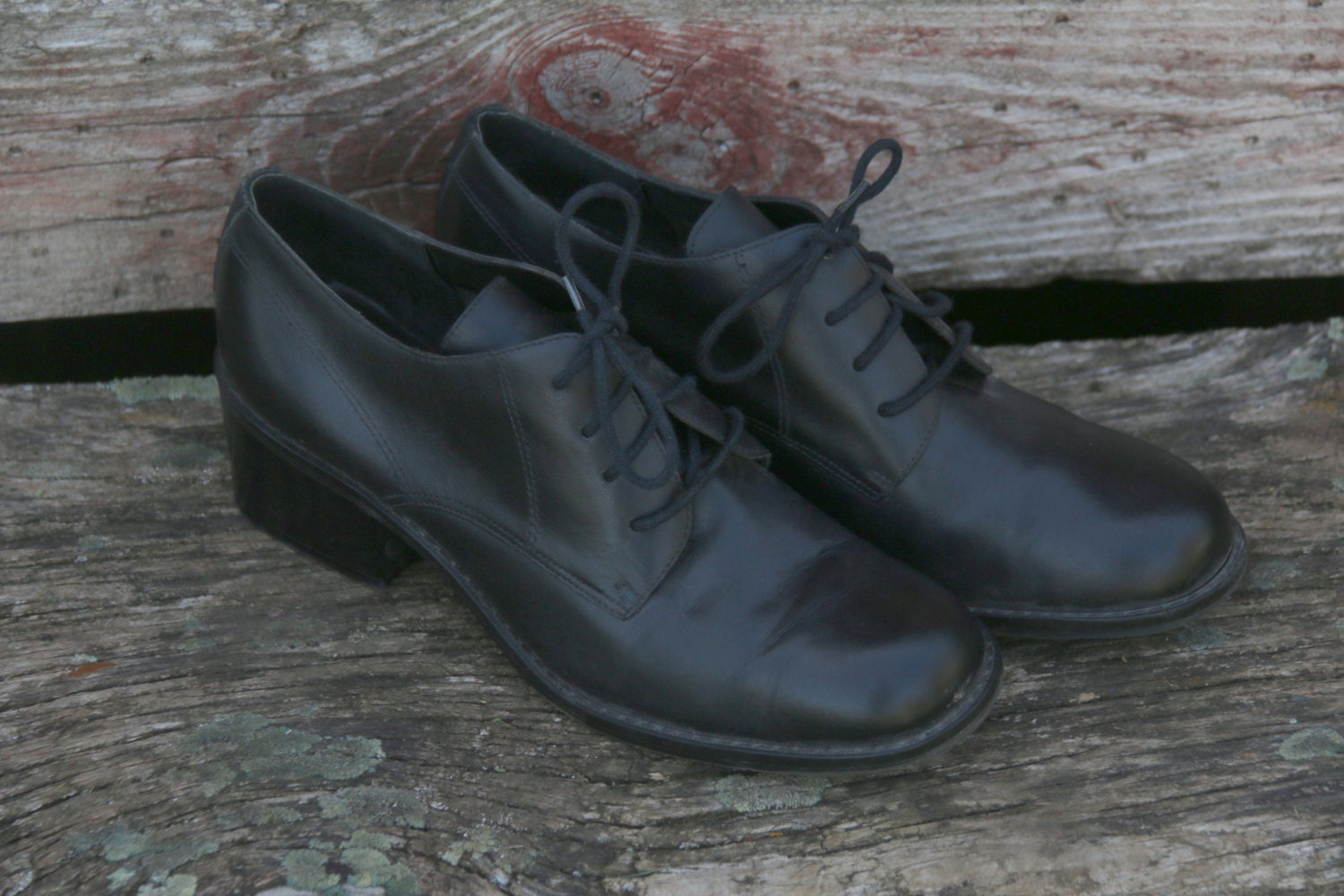 vintage leather ankle boots size 9 narrow retro preppy