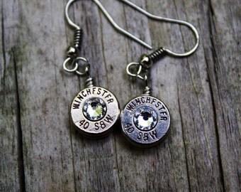 Bullet jewelry, bullet earrings, 40 caliber brass bullet casing dangle earrings, clear crystals, redneck jewelry, country girl jewelry