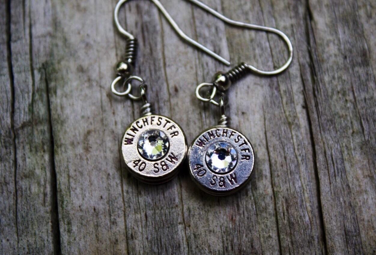 bullet jewelry bullet earrings 40 caliber brass bullet