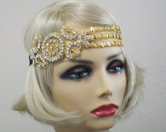 Gold Flapper headband, Gatsby headband, 1920s headpiece, Downton Abbey, 1920s  headband, 1920s Hair accessory, Art Deco, Vintage inspired