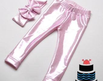 Metallic Baby Pink Leggings and Headband set Baby/Toddlers/Girls. Dance leggings. Gymnastics wear. Bow Headband.
