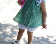 Baby girl/ toddler girl pastel mint kelp print summer top • Made to order