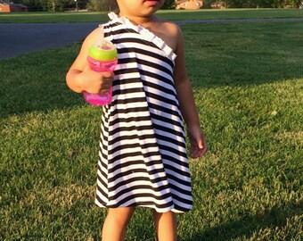 Baby girl black & white stripe off shoulder dress // Made to order