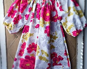 3/4 sleeve baby girl/ toddler girl poppy flower dress • made to order