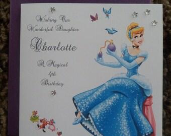 Handmade Personalised Birthday Card CINDERELLA DESIGN Any Age