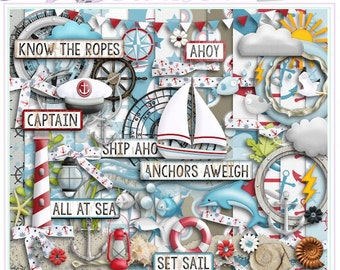 NAUTICAL DAYS - A Digital Scrapbooking Kit - Seaside, Boat, Sand, Fish, Ocean, Captain, Dolphin, Lifesaver, Light House, Compass, Seashell