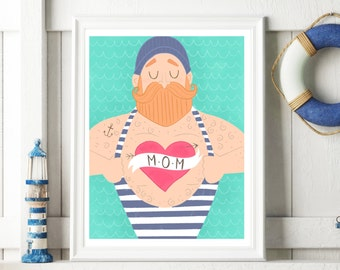 Sailor Print, Sailor Art, Nautical Print, Beard Art, Hipster Art, Hipster Decor, Hipster Wall Art, Hipster Gift, Art Print, 8x10, 11x14