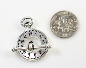 """1Set~ TIERRACAST~""""Clock and Bar Toggle Clasp Sets"""", Antiqued Silver Plated Lead Free Pewter& Antiqued Pewter~6712"""