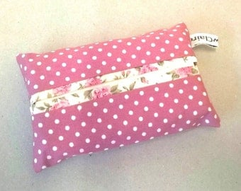 Tissue holder in pink, spotty tissue cover, travel tissues, pocket tissues, fabric tissue pouch